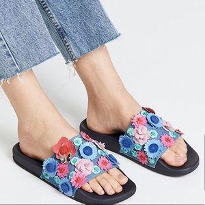 Kate Spade Skye Pool Slides Floral Appliqué Size 6